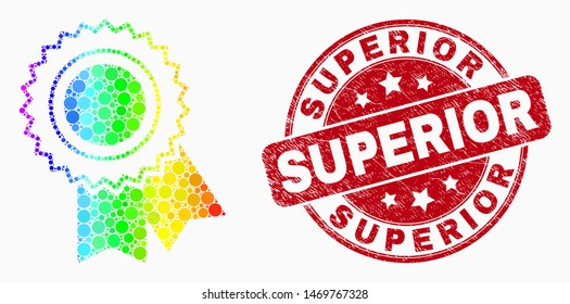 """Dot rainbow gradiented award seal mosaic icon and """"Superior"""" seal stamp. Red vector rounded textured seal stamp with """"Superior"""" caption. Vector composition in flat style."""