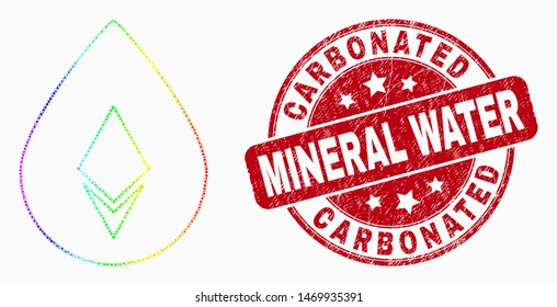 Dot rainbow gradiented crystal drop mosaic icon and Carbonated Mineral Water stamp. Red vector round grunge seal with Carbonated Mineral Water title. Vector composition in flat style.