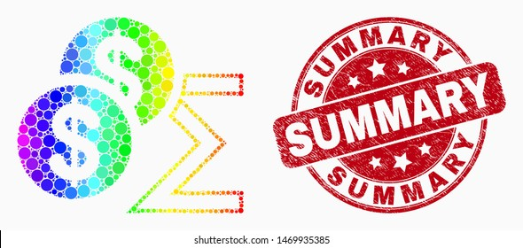 Dot rainbow gradiented dollar sum mosaic pictogram and Summary watermark. Red vector round distress watermark with Summary text. Vector combination in flat style.