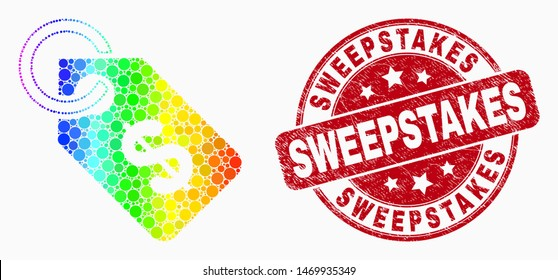 Dot rainbow gradiented price tag mosaic icon and Sweepstakes seal stamp. Red vector rounded scratched seal stamp with Sweepstakes text. Vector composition in flat style.
