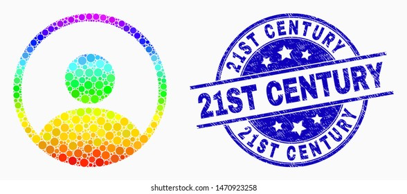 Dot rainbow gradiented user mosaic pictogram and 21St Century stamp. Blue vector rounded textured seal with 21St Century title. Vector combination in flat style.