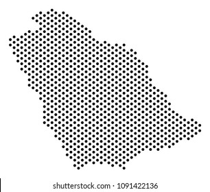 Dot Saudi Arabia map. Vector geographical scheme. Cartographic composition of Saudi Arabia map combined with sphere points.