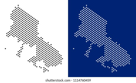 Dot Skyros Greek Island map. Vector geographic map on white and blue backgrounds. Vector concept of Skyros Greek Island map created with round elements.