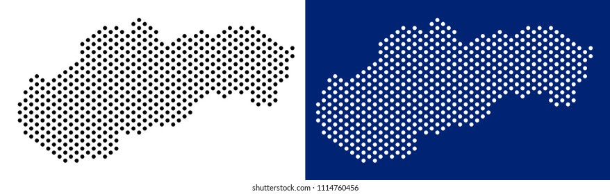 Dot Slovakia map. Vector geographic map on white and blue backgrounds. Vector concept of Slovakia map organized from spheric elements.
