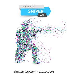 Dot sniper illustration. Military shoots a rifle. Vector eps 10