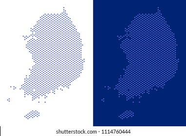 Dot South Korea map. Vector geographic map on white and blue backgrounds. Vector collage of South Korea map done of round items.