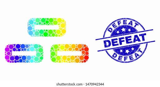 Dot spectral bricks mosaic icon and Defeat seal stamp. Blue vector rounded distress seal stamp with Defeat title. Vector combination in flat style.
