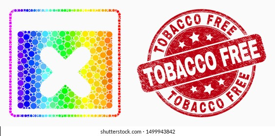 Dot spectral close application window mosaic pictogram and Tobacco Free watermark. Red vector rounded scratched watermark with Tobacco Free text. Vector collage in flat style.