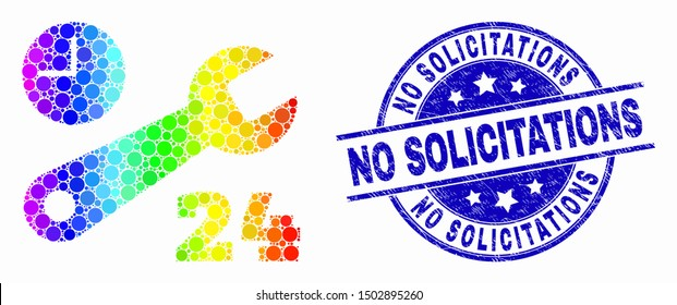 Dot spectral nonstop repair service mosaic pictogram and No Solicitations seal stamp. Blue vector round grunge seal with No Solicitations message. Vector combination in flat style.