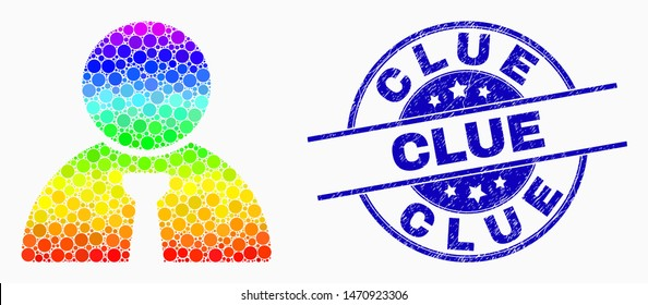 Dot spectrum boss mosaic icon and Clue seal. Blue vector round distress seal with Clue title. Vector combination in flat style. Spectrum gradient boss illustration of randomized spheres,