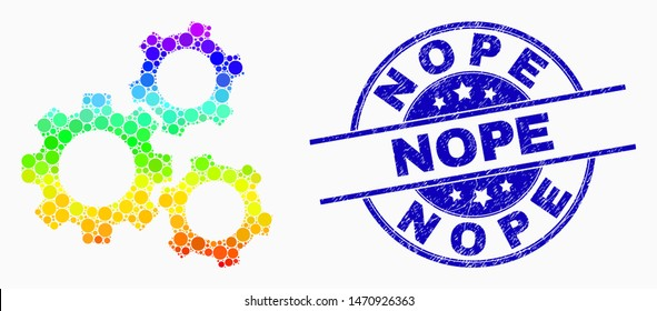 Dot spectrum cogwheels mosaic icon and Nope seal stamp. Blue vector rounded scratched stamp with Nope title. Vector combination in flat style. Colorful gradient cogwheels mosaic of random circles,