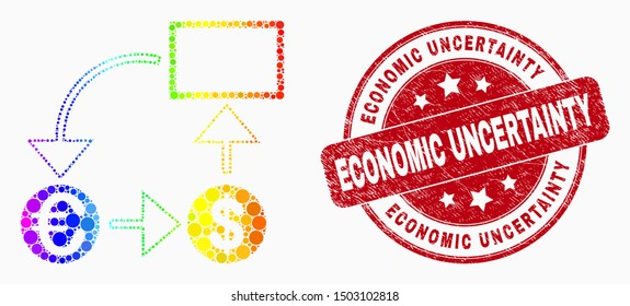 Dot spectrum currency conversion scheme mosaic icon and Economic Uncertainty seal stamp. Red vector round distress seal stamp with Economic Uncertainty text. Vector combination in flat style.