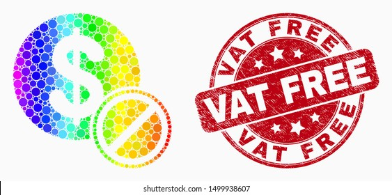 Dot spectrum forbidden dollar mosaic icon and Vat Free stamp. Red vector round grunge seal stamp with Vat Free message. Vector collage in flat style.