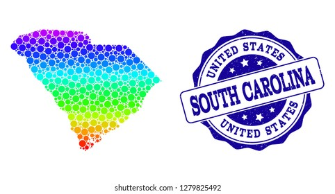 Dot spectrum map of South Carolina State and blue grunge round stamp seal. Vector geographic map in bright rainbow gradient colors on a white background.