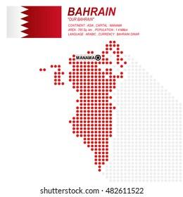 Dot style of Bahraini map and flag on white background.(EPS10 art vector)