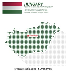 Dot style of Hungary map and flag on white background.(EPS10 art vector)