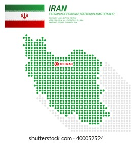 Dot style of Iran map and flag on white background.(EPS10 art vector)