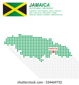 Dot style of Jamaica map and flag on white background.(EPS10 art vector)