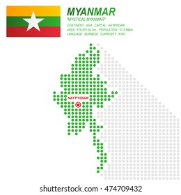 Dot style of Myanmar map and flag on white background.(EPS10 art vector)