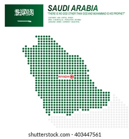 Dot style of Saudi Arabia map and flag on white background.(EPS10 art vector)