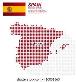 Dot style of spain map and flag on white background.(EPS10 art vector)