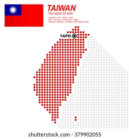 Dot style of Taiwanese map and flag on white background.(EPS10 art vector)