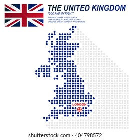 Dot style of UK map and flag on white background.(EPS10 art vector)