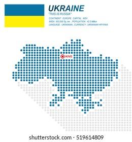 Dot style of Ukraine map and flag on white background.(EPS10 art vector)