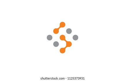 dot technology connection icon vector logo