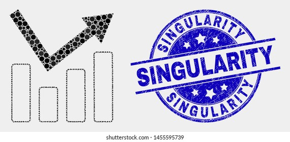 Dot trend chart mosaic icon and Singularity seal. Blue vector round scratched seal stamp with Singularity caption. Vector composition in flat style.