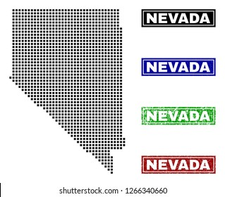 Dot vector abstracted Nevada State map and isolated clean black, grunge red, blue, green stamp seals. Nevada State map tag inside rough framed rectangles and with grunge rubber texture.