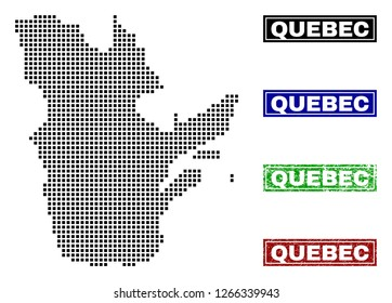 Dot vector abstracted Quebec Province map and isolated clean black, grunge red, blue, green stamp seals. Quebec Province map caption inside draft framed rectangles and with grunge rubber texture.