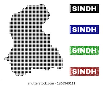Dot vector abstracted Sindh Province map and isolated clean black, grunge red, blue, green stamp seals. Sindh Province map name inside rough framed rectangles and with grunge rubber texture.