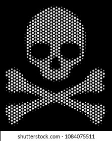 Dot white death skull icon on a black background. Vector halftone illustration of death skull pictogram composed with circle pixels.