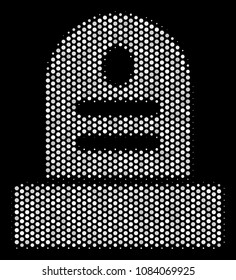 Dot white grave icon on a black background. Vector halftone illustration of grave symbol created from circle elements.