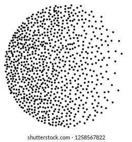 Dot work sphere. Pointillism style. Vintage engraved ball. Chaotic halftone circle vector logo symbol. Abstract dotted globe illustration on white background. Vector splatter of calligraphy ink