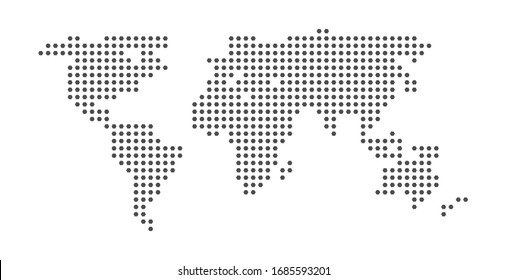 dot of world map illustration. atlas globe background. isolated global continent. planet earth silhouette.