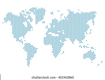Dot World Map vector isolated on white background. Blue continent points. Worldmap Template for website, annual reports, infographics.