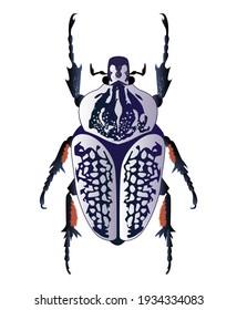 Doted bug with violet wings. Entomology illustration. Lilac horned beetle. Symmetrical modern illustration.