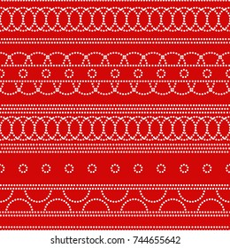 Doted circles geometric seamless pattern in red and white, vector