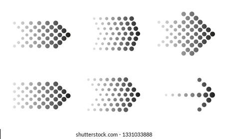 Dots arrow icon set. Vector halftone arrows.