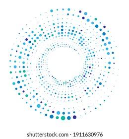 Dots, circles spiral, swirl, twirl. Circular speckles, stipples illustration. Pointillist, pointillism, stippling art element