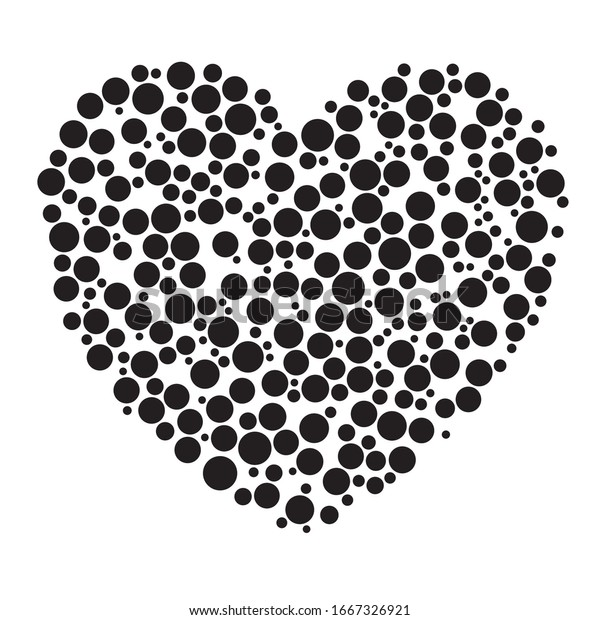 Dots, dotted, speckled heart element. Heart made of circles. Clip-art for love, affection, marriage heart-health concepts