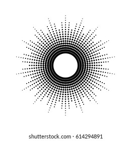 Dots drawing of rays of the sun in vintage style.