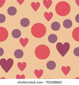 Dots and hearts pattern. Seamless vector illustration. Retro, vintage background Vector illustration Flat Scandinavian style for print on fabric, gift wrap, web backgrounds, scrap booking, patchwork