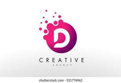 Dots Letter D Logo. D Letter Design Vector with Dots.