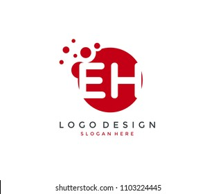 Dots Letter EH Logo Design Template