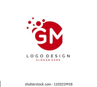 Dots Letter GM Logo Design Template