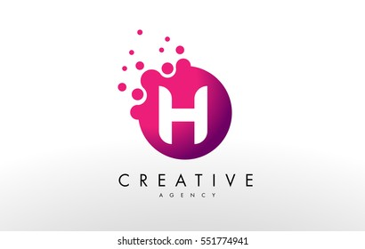 Dots Letter H Logo. H Letter Design Vector with Dots.