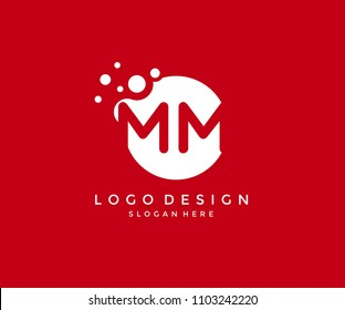 Dots Letter MM Logo Design Template